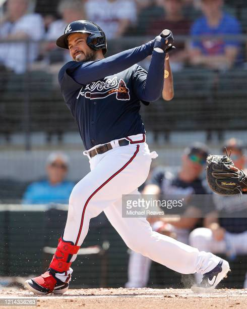 Travis d'Arnaud of the Atlanta Braves in action against the Houston Astros during a Grapefruit League spring training game at CoolToday Park on March...