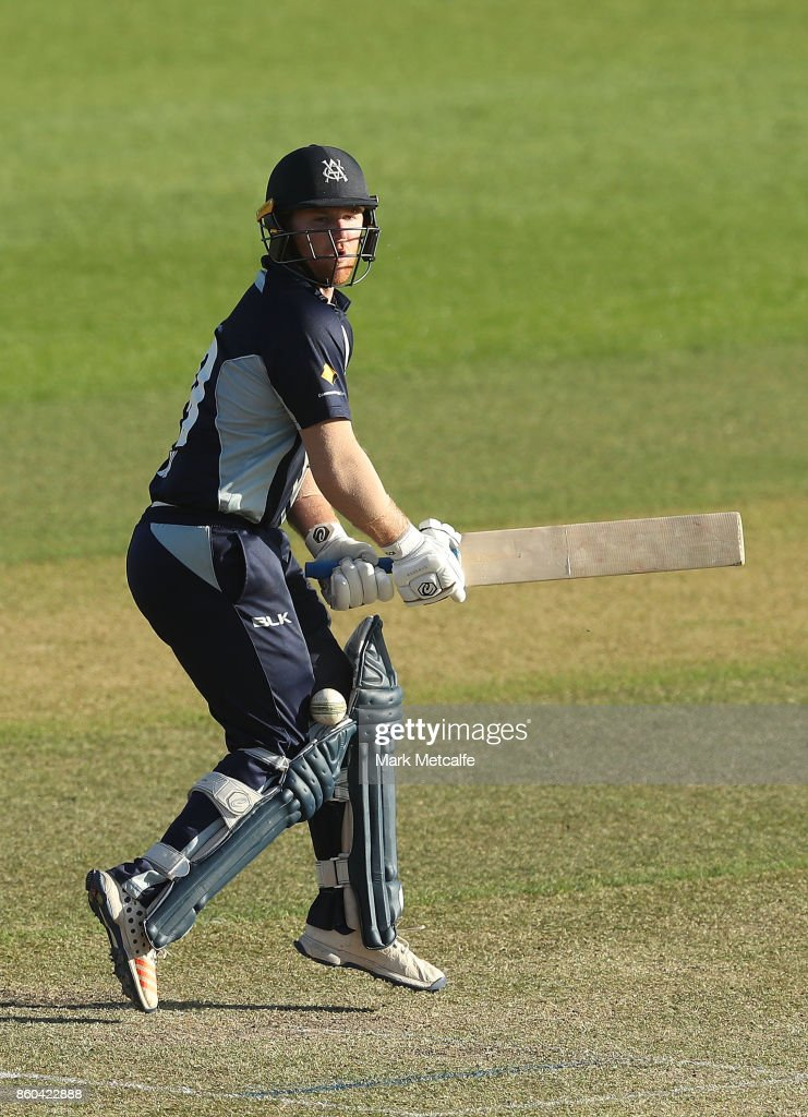Travis Dean of the Bushrangers bats during the JLT One Day Cup match between Victoria and South Australia at North Sydney Oval on October 12, 2017 in Sydney, Australia.