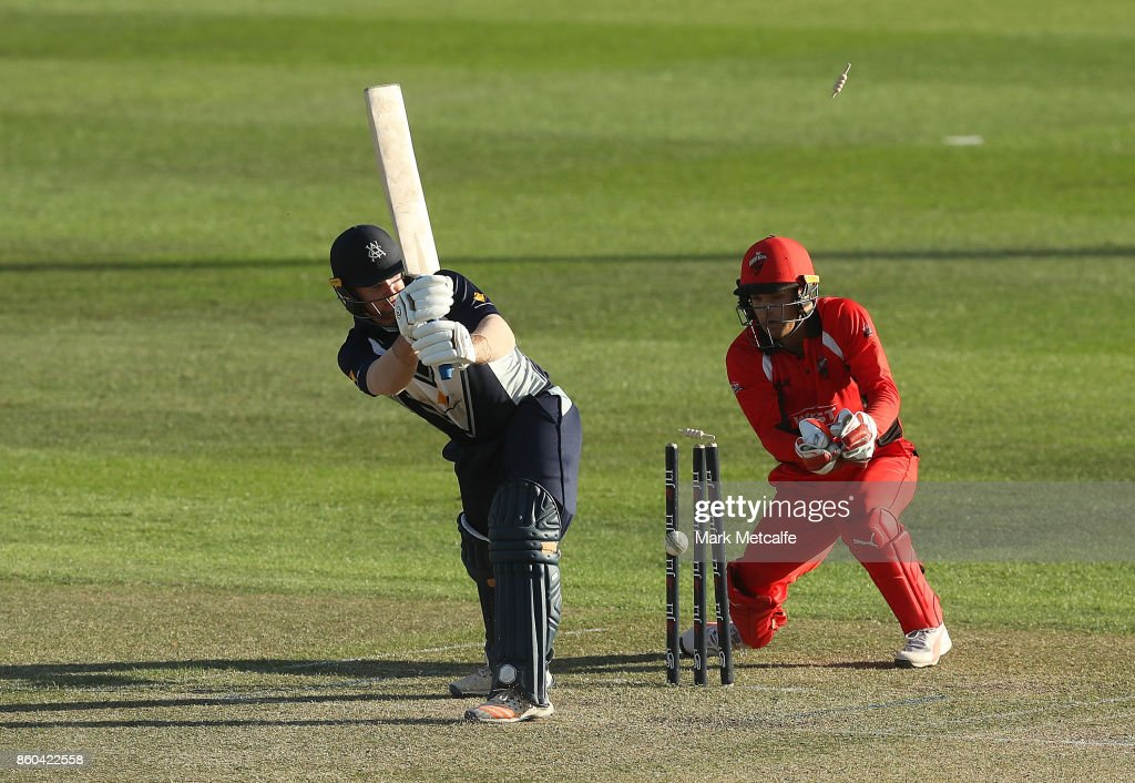 Travis Dean of the Bushrangers is bowled by Cameron Valente of the Redbacks during the JLT One Day Cup match between Victoria and South Australia at North Sydney Oval on October 12, 2017 in Sydney, Australia.