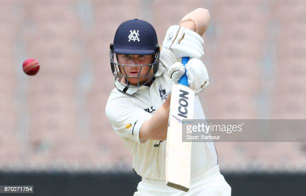 Travis Dean of Victoria bats during day two of the Sheffield Shield match between Victoria and South Australia at the Melbourne Cricket Ground on...