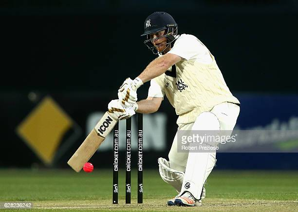 Travis Dean of Victoria plays a shot during day three of the Sheffield Shield match between Tasmania and Victoria at Blundstone Arena on December 7...