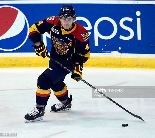 Travis Dermott of the Erie Otters controls the puck against the Mississauga Steelheads during OHL game action on November 27 2015 at the Hershey...