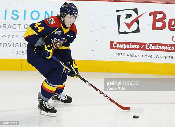 Travis Dermott of the Erie Otters skates during an OHL game between the Erie Otters and the Niagara IceDogs at the Meridian Centre on November 6 2014...