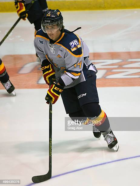Travis Dermott of the Erie Otters skates in warmup prior to a game against the Mississauga Steelheads during OHL game action on November 27 2015 at...
