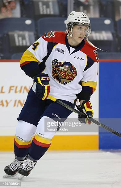 Travis Dermott of the Erie Otters warms up prior to an OHL game against the Niagara IceDogs at the Meridian Centre on October 1 2015 in St Catharines...