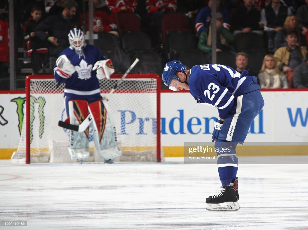 Travis Dermott of the Toronto Maple Leafs leaves the ice following a ... 80b486627