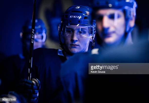 Travis Dermott of the Toronto Maple Leafs leaves the locker room prior to the third period against the Columbus Blue Jackets at the Air Canada Centre...