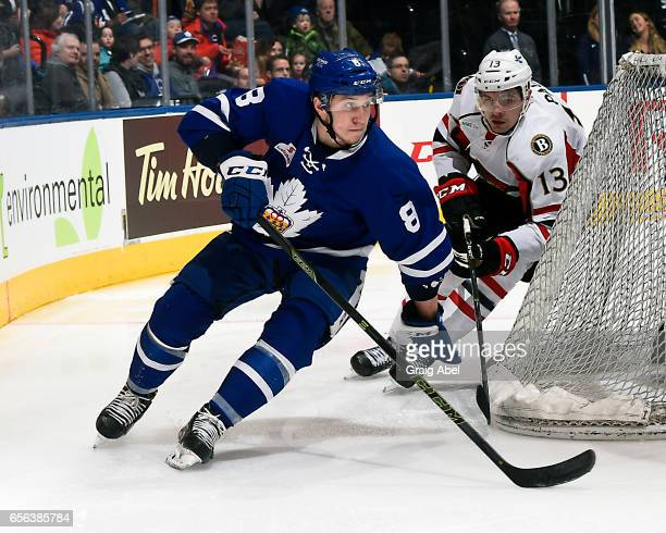 Travis Dermott of the Toronto Marlies controls the puck past Nick Paul of the Binghamton Senators on March 18 2017 at Air Canada Centre in Toronto...