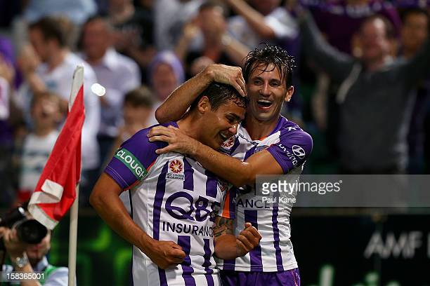 Travis Dodd and Liam Miller of the Glory celebrate a goal during the round 11 ALeague match between the Perth Glory and the Newcastle Jets at nib...