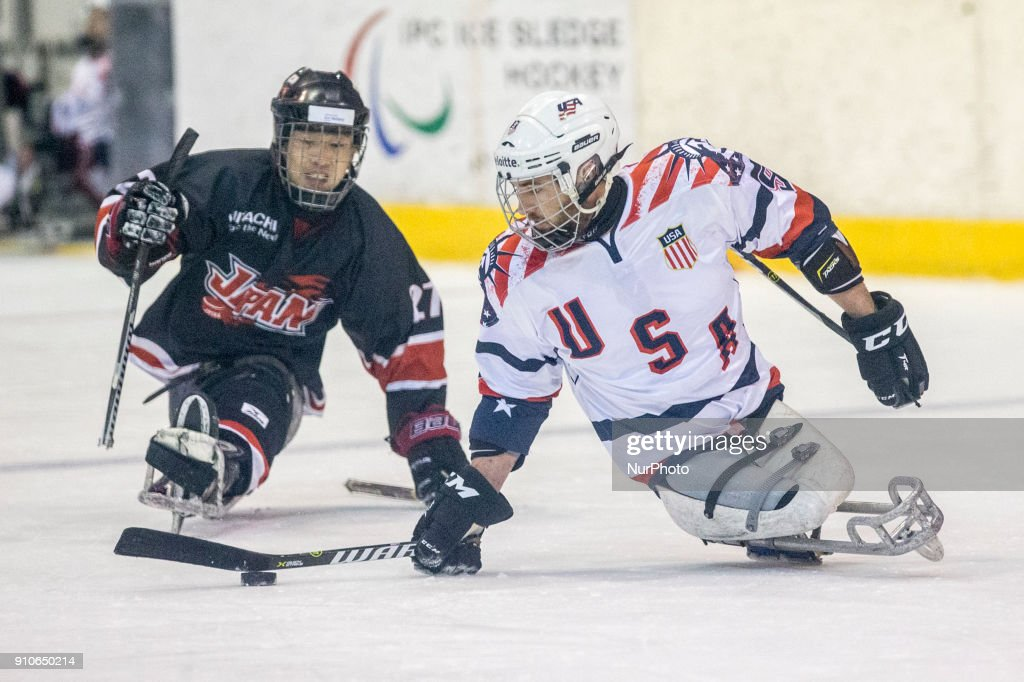 Travis Dodson (USA) during International Para Ice Hockey Tournament of Torino Semifinal match between USA and Japan in Turin, italy, on 26 Januray 2018. Usa team won 9 - 0. This is the last tournament before the Paralympic Games of Pyeongchang 2018 in Korea.