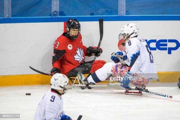 Travis DODSON Jack WALLACE and Liam HICKEY during The Ice Hockey gold medal game between Canada and United States during day nine of the PyeongChang...
