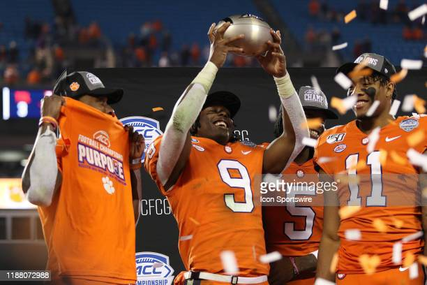 Travis Etienne running back of Clemson during the ACC football championship game between the Virginia Cavaliers and the Clemson Tigers on December 7...