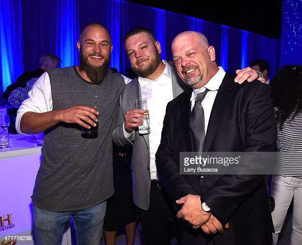 Travis Fimmel Corey Harrison and Rick Harrison attend 2015 AE Networks Upfront on April 30 2015 in New York City