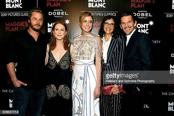 Travis Fimmel Julianne Moore Greta Gerwig Rebecca Miller Ethan Hawke attend Montblanc And The Cinema Society With Mastro Dobel Kim Crawford Wines...