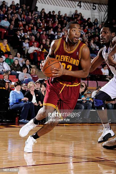 Travis Franklin of the Canton Charge drives to the hoop against the Iowa Energy at the Canton Memorial Civic Center on January 26 2013 in Canton Ohio...