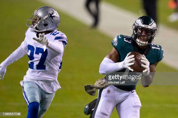 Travis Fulgham of the Philadelphia Eagles catches a pass against Trevon Diggs of the Dallas Cowboys at Lincoln Financial Field on November 1, 2020 in...