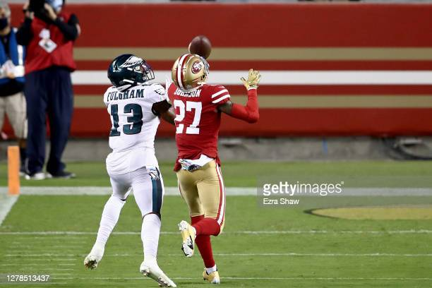 Travis Fulgham of the Philadelphia Eagles catches a touchdown in the fourth quarter against Dontae Johnson of the San Francisco 49ers in the game at...