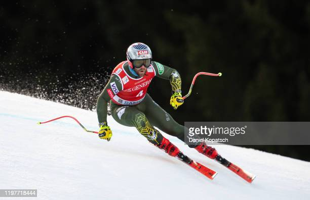 Travis Ganong of the United States competes during a training session for the Audi FIS alpine ski world cup men's downhill on January 31 2020 in...