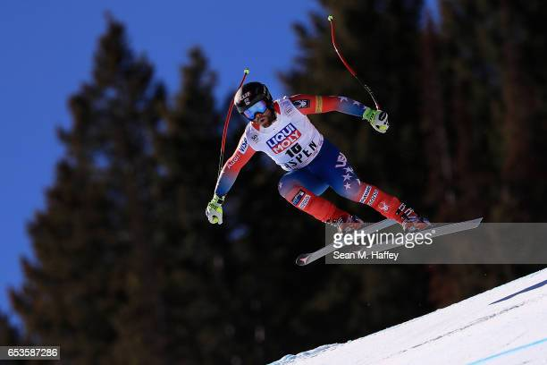 Travis Ganong of the United States competes in the Men's Downhill for the 2017 Audi FIS Ski World Cup Final at Aspen Mountain on March 15 2017 in...