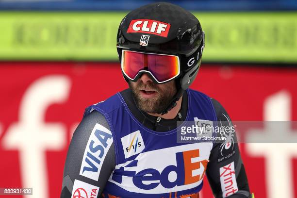 Travis Ganong of the United States cools down after crossing the finish line in the Men's SuperG during the Audi Birds of Prey World Cup on December...
