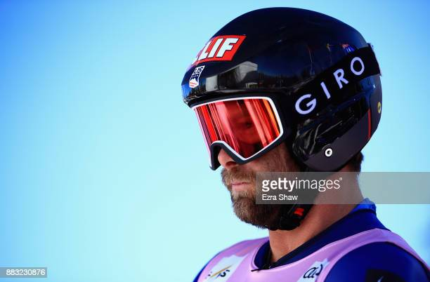 Travis Ganong of the United States gets ready near the start house before a training run for the Audi Birds of Prey World Cup downhill race on...