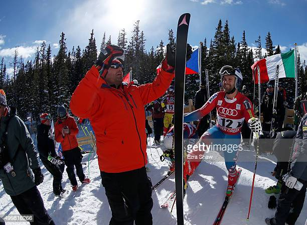 Travis Ganong of the United States prepares for the start of a downhill training run for the Audi FIS Ski World Cup on the Birds of Prey on December...