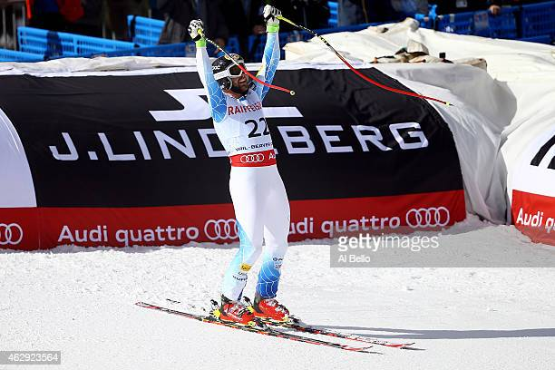 Travis Ganong of the United States reacts after crossing the finish of the Men's Downhill in Red Tail Stadium on Day 6 of the 2015 FIS Alpine World...