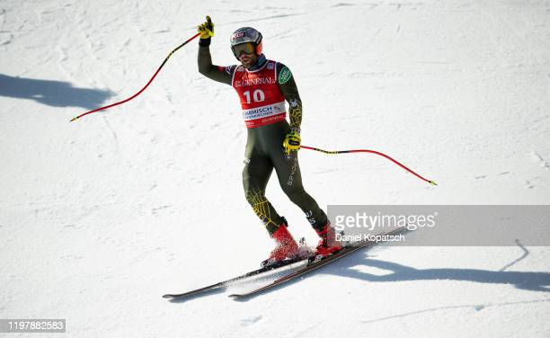 Travis Ganong of the United States reacts in the finish area during the Audi FIS alpine ski world cup men's downhill on February 1, 2020 in...