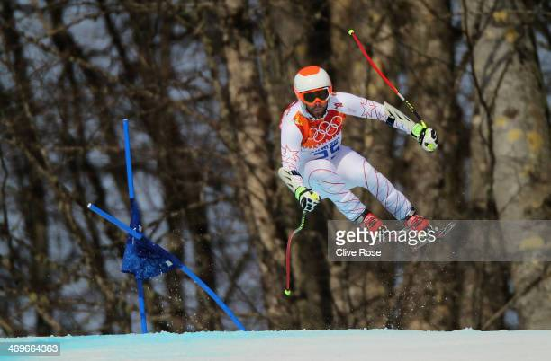 Travis Ganong of the United States skis during the Alpine Skiing Men's SuperG on day 9 of the Sochi 2014 Winter Olympics at Rosa Khutor Alpine Center...