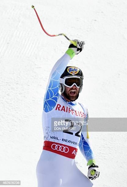 Travis Ganong of the US celebrates in the finish area during the 2015 World Alpine Ski Championships men's downhill February 7 2015 in Beaver Creek...
