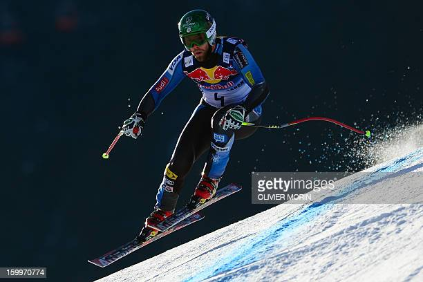 Travis Ganong of the US competes during the men's World Cup Downhill training on January 24 2013 in Kitzbuehel AFP PHOTO / OLIVIER MORIN