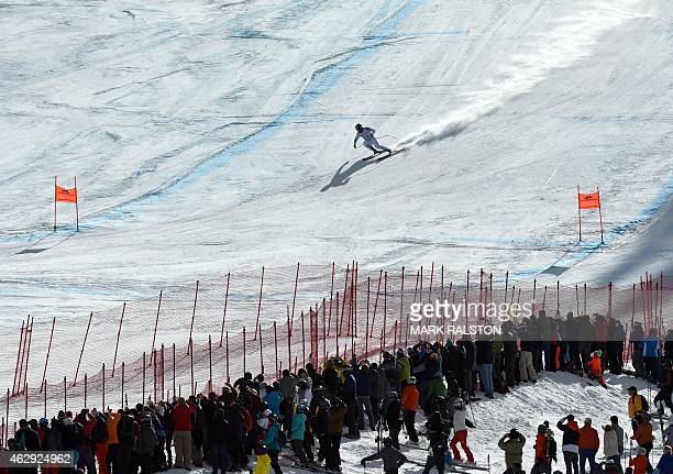 Travis Ganong of the US skis to the finish during the 2015 World Alpine Ski Championships men's downhill February 7 2015 in Beaver Creek Colorado AFP...