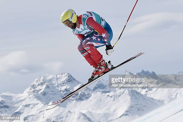 Travis Ganong of the USA competes during the Audi FIS Alpine Ski World Cup Finals Men's and Women's Downhill Training on March 15 2016 in St Moritz...