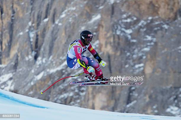 Travis Ganong of The USA races down the Saslong course during the Audi FIS Alpine Ski World Cup Men's Super G on December 16 2016 at Val Gardena Italy