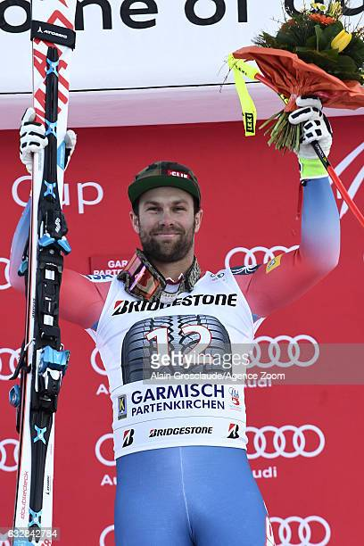 Travis Ganong of USA takes 1st place during the Audi FIS Alpine Ski World Cup Men's Downhill on January 27 2017 in GarmischPartenkirchen Germany
