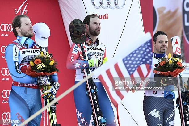 Travis Ganong of USA takes 1st place Kjetil Jansrud of Norway takes 2nd place Peter Fill of Italy takes 3rd place during the Audi FIS Alpine Ski...