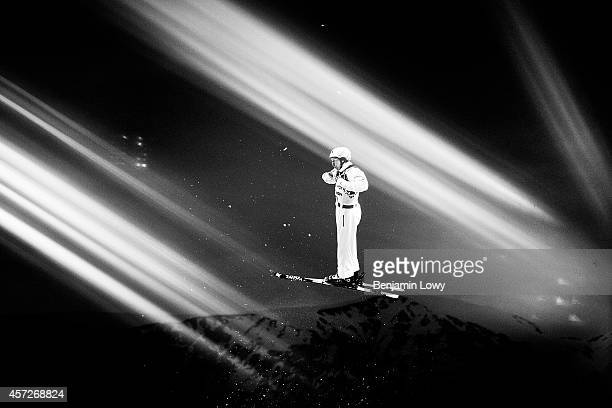 Travis Gerrits of Canada competes in the Freestyle Skiing Men's Aerials Qualification on day ten of the 2014 Winter Olympics at Rosa Khutor Extreme...