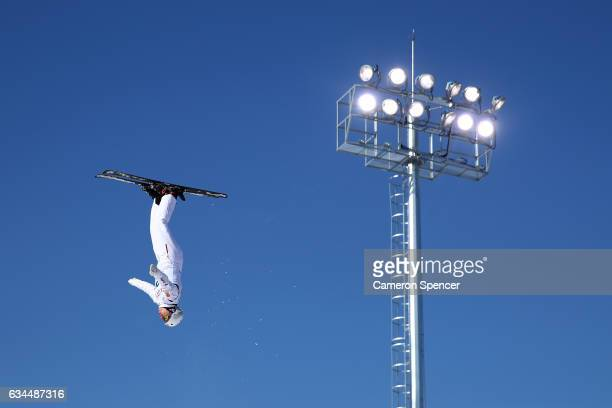 Travis Gerrits of Canada performs an aerial during qualification in the FIS Freestyle Ski World Cup 2016/17 Mens Aerials at Bokwang Snow Park on...