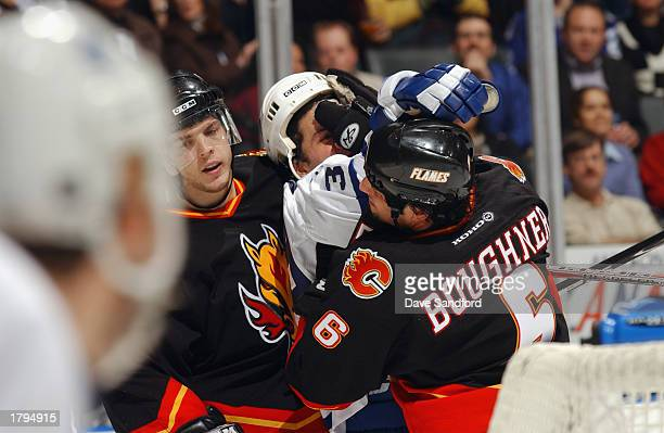 Travis Green of the Toronto Maple Leafs gets a glove in the face from Bob Boughner of the Calgary Flames at Air Canada Centre on January 14 2003 in...
