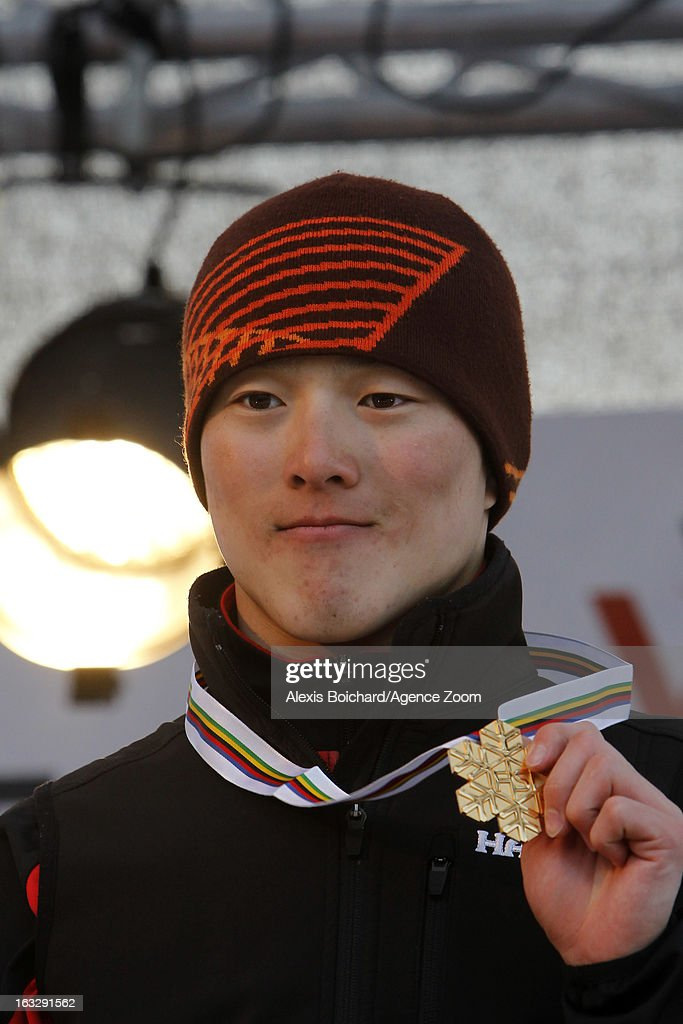 Travis Guangpu Qi of China takes 1st place during the FIS Freestyle Ski World Championship Men's and Women's Aerials on March 07, 2013 in Voss, Norway.