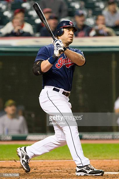 Travis Hafner of the Cleveland Indians hits a tworun home run during the ninth inning against the Chicago White Sox at Progressive Field on October 2...