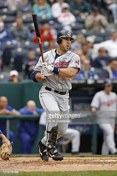 Travis Hafner of the Indians at the plate during action between the Cleveland Indians and Kansas City Royals at Kauffman Stadium in Kansas City...