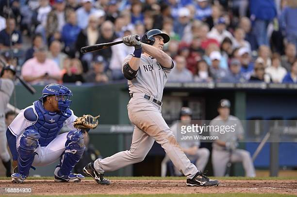 Travis Hafner of the New York Yankees bats against the Kansas City Royals on May 11 2013 at Kauffman Stadium in Kansas City Missouri The New York...