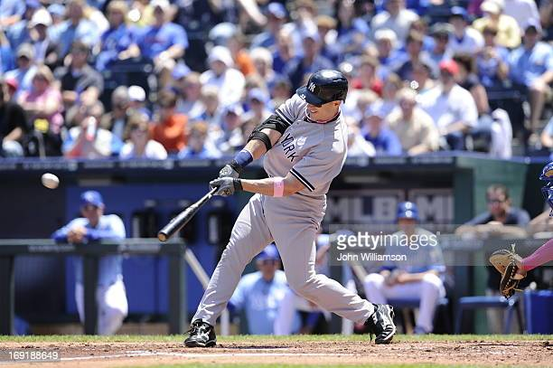 Travis Hafner of the New York Yankees bats against the Kansas City Royals on May 12 2013 at Kauffman Stadium in Kansas City Missouri The Yankees...