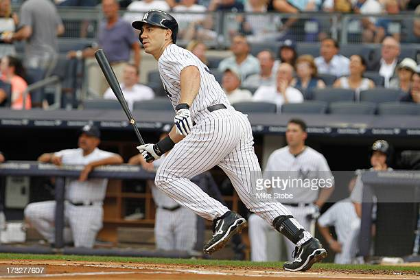 Travis Hafner of the New York Yankees bats against the Kansas City Royals at Yankee Stadium on July 8 2013 in the Bronx borough of New York City...