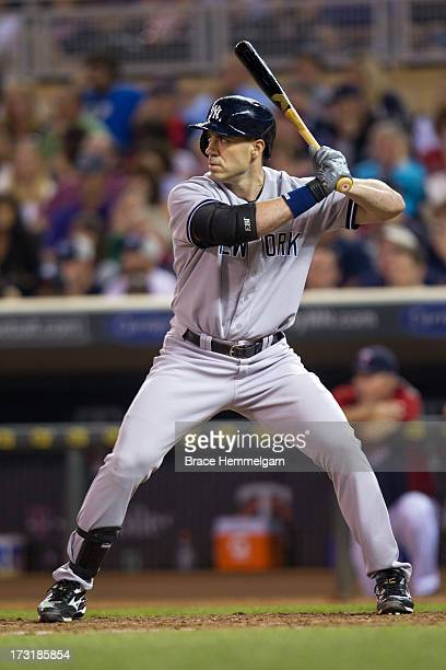 Travis Hafner of the New York Yankees bats against the Minnesota Twins on July 1 2013 at Target Field in Minneapolis Minnesota The Yankees defeated...