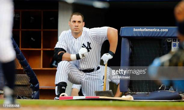 Travis Hafner of the New York Yankees in action against the Tampa Bay Rays at Yankee Stadium on June 21 2013 in the Bronx borough of New York City...