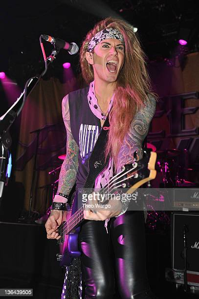 Travis Haley of Steel Panther performs at Irving Plaza on January 4 2012 in New York City