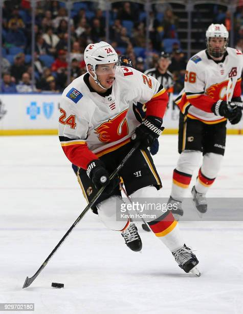 Travis Hamonic of the Calgary Flames during the game against the Buffalo Sabres at KeyBank Center on March 7 2018 in Buffalo New York