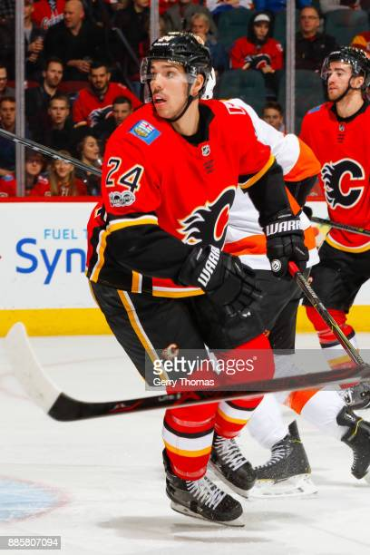 Travis Hamonic of the Calgary Flames in a game against the Philadelphia Flyers at the Scotiabank Saddledome on December 04 2017 in Calgary Alberta...